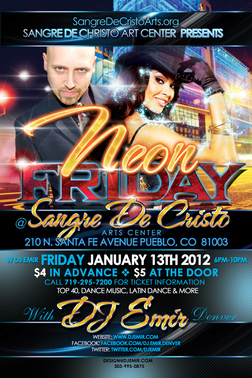 Neon Friday Party Pueblo Colorado Flyer Design w DJ Emir Santana